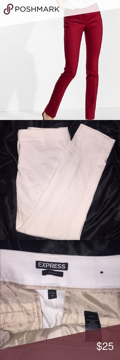 Low Rise Slim Leg Columnist Pant New without tags white columnist Express pants. Low rise, slim fit, slim leg Zip fly and hidden hook and button closure Slant hand pockets, welt back pockets. Fits too big on me Express Pants