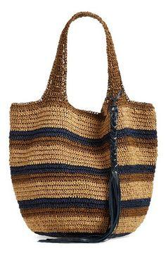 Caslon® Stripe Crochet Straw Shoulder Bag