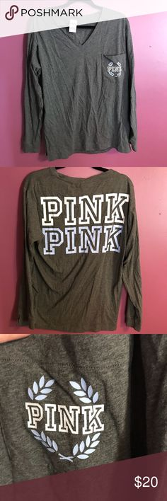 Gray PINK long sleeve T-shirt 🌷 ❤️❤️❤️BUNDLE WITH ANYTHING FROM MY CLOSET AND I'LL GIVE YOU BOGO 1/2 OFF!! ❤️❤️❤️  Gray long sleeve shirt with purple and white decal. So comfortable and great to pair with leggings or jeans!  ❗️👑👜MAKE SURE TO CHECK OUT THE REST OF MY CLOSET AND BUNDLE 👜👑❗️ Size Large - PINK/Victoria Secret Brand - Worn twice PINK Victoria's Secret Tops Tees - Long Sleeve