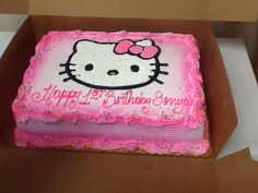 Sheet cake with hello kitty piping