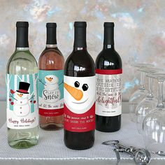 Let It Snow - Snowman - Holiday Wine Bottle Label Stickers - Set of 4 | BigDotOfHappiness.com