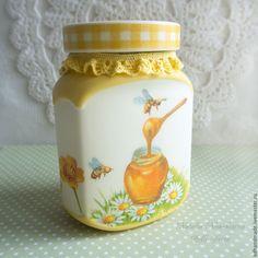 """Купить Баночка """"Медовая"""" - желтый, баночка, баночка стеклянная, баночка для чая, баночка для специй, ягода"""