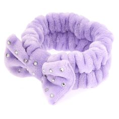 Bow Makeup Headwrap – Purple – Claire's - special Claire's Makeup, Body Makeup, Makeup Brush Set, Beauty Makeup, Claires Bows, Spa Accessories, Accessories For Girls, Metal Wings, Pink Sale