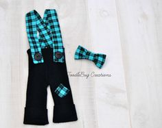 Newborn Photography Set Upcycled Black Pants with bright blue plaid suspenders by ToodleBugCreations, $26.50