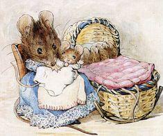 """"""" La bibliothèque et la cage furent retrouvées près du seau à charbon, mais Hunca Munca avait conservé le berceau et quelques uns des vêtements de Lucile. """" ~ Deux vilaines souris"""