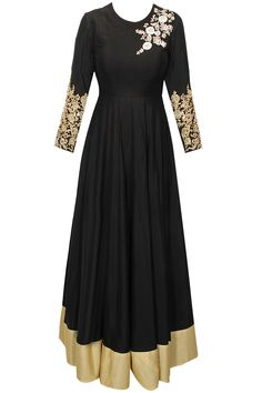 Black dabka embroidered anarkali available only at Pernia's Pop-Up Shop.