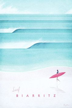 Biarritz Vintage Surf Poster by Henry Rivers   Art prints available from Travel Poster Co. #vintageposters