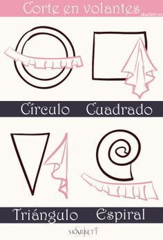 Aprende a cortar volantes para tus proyectos de costura / Little post (SKARLETT) - Pat Tutorial and Ideas Sewing Basics, Sewing Hacks, Sewing Tutorials, Sewing Crafts, Pattern Drafting Tutorials, Sewing Projects, Sewing Ideas, Techniques Couture, Sewing Techniques