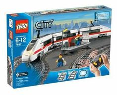 "LEGO City Train Starter Set by LEGO. $429.99. Complete train includes engine and two cars, and measures 31.5"" (80cm) long. Requires 9 AA (1.5v) batteries, not included. Open the top of the train car to see the passengers inside. Train also runs on 9v LEGO train tracks. 3-channel infrared remove control moves train forward and backward at 3 different speeds. Amazon.com                With the City Train Starter Set, kids can operate the commuter trains that bring mommy and daddy ..."