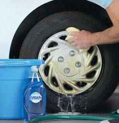 Remove grease from wheels with Dawn dish soap in 4 easy DIY steps. 1) First, add a teaspoon of Dawn to a gallon of hot water. 2) Dip a soft sponge in the bucket and squeeze out any extra suds/water. 3) Scrub away the grease and oil. 4) Rinse with warm water and then dry with a soft towel. Now you're good to roll on. For more information, go to http://dawn-dish.com/en-us/solutions-tips/beyond-the-sink/wheel-cleaner?utm_source=pinterest&utm_medium=social&utm_content=GarageDropSilhouette&utm_ca...