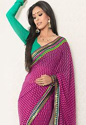 Keep the interest with this printed saree. This magenta faux georgette saree is nicely designed with floral, geometric print and graceful patch border. Saree gives you a singular and dissimilar look. Contrasting green blouse is available. Slight color variations are possible due to differing screen and photograph resolution.