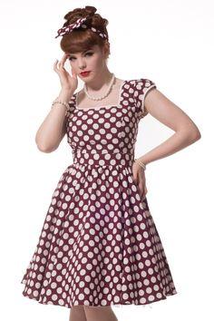 """Burgandy with White Polka Dot """"Sweetie Pie"""" Swing Dress"""