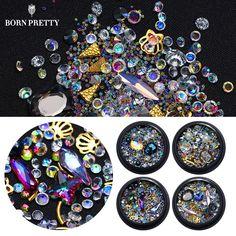 AB Color Crystal Nail Rhinestone Pearl Mini Beads Metal Frame Sharp Bottom Strass Tips DIY Manicure 3D Nail Art Decoration