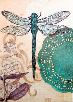 SALE Original Dragonfly Drawing Collage - Dragonfly