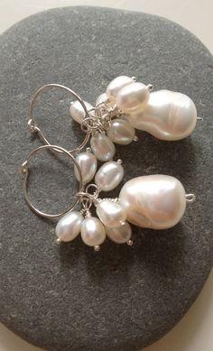 Wedding Day Earrings, White Baroque & Freshwater Pearl  Earrings, Bridal, SS Hoop Earrings, Pearl Earrings, White Earrings