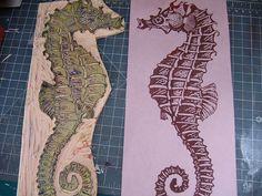 Seahorse lino print and block