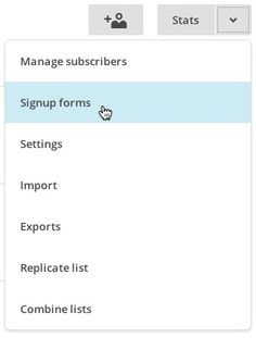 Select Signup Forms from the list drop-down menu. Mail chimp subscription download process