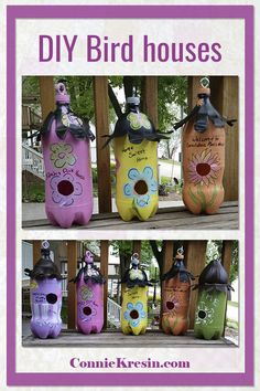 DIY soda bottle birdhouses are easy to make with your grandchildren birdhouse DIY crafts 281543713248582 Pop Bottle Crafts, Plastic Bottle Crafts, Crafts To Do, Diy Crafts For Kids, Bird Feeders For Kids To Make, Birdhouse Craft, Birdhouses, Birdhouse Designs, Bird House Kits