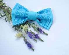 EMBROIDERED bright blue bow tie Men's ties For от accessories482 #bowtie #wedding #bluebowtie
