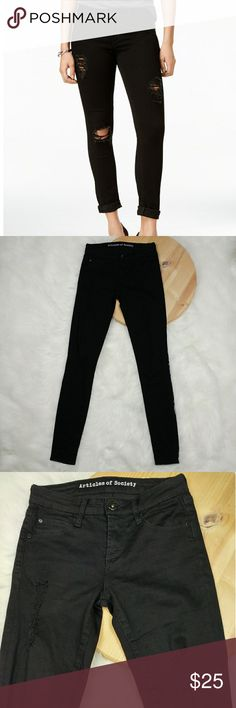 """Articles of Society black skinny ripped jeans 24 Articles of Society black skinny ripped/distressed jeans  Size 24 In great condition. Can be rolled up at ankles or worn down Measuments taken laying flat across: Inseam 30"""" Waist 12.5"""" Front rise 8"""" Articles Of Society Jeans"""