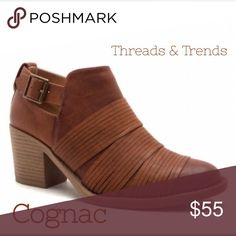 🆕🌸 Cognac Buckle & Strap Booties Fabulous color cognac booties with buckle closure and strappy detail across front of bootie. Threads & Trends Shoes Ankle Boots & Booties