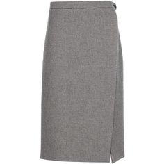 Balenciaga Virgin Wool Wrap Skirt (€1.120) ❤ liked on Polyvore featuring skirts, black, ivory skirt, wrap skirt, winter white skirt, balenciaga and balenciaga skirt