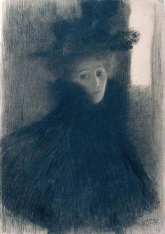 """Gustav Klimt (1862-1918), """"Dame avec cape et chapeau"""" 1897/8"""