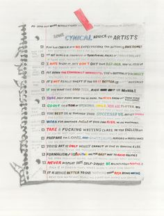 William Powhida, Cynical Advice, 2012. Graphite, coloured pencil, and watercolour on paper, 15 x 20 inches