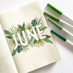 June, Handlettering, Leaves