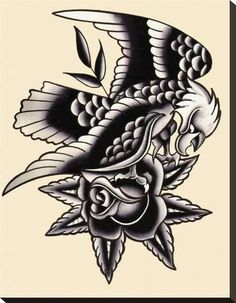 Traditional Eagle by Mr. Skully Rose Tattoo Artwork Canvas Art Print Traditional Eagle by Mr. Hot Tattoos, Trendy Tattoos, Tattoos For Guys, Wing Tattoos, Tatoos, Eagle Tattoos, Tribal Tattoos, Turtle Tattoos, Celtic Tattoos