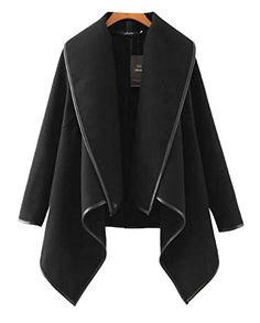 Enlishop Womens Winter Oversized Irregular Wool Wrap Coat Jackets Black *** Check this awesome product by going to the link at the image.