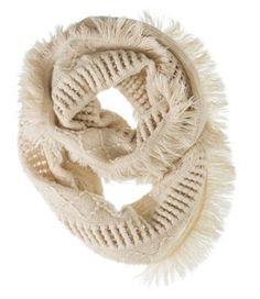 Quagga Fanfare Fringe Knit Infinity Scarf for Ladies - Cream