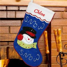 Snowman Christmas Stocking   Embroidered Snowman Christmas Stocking