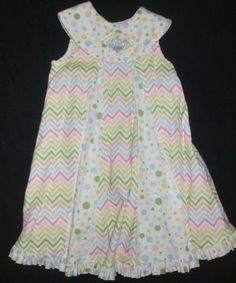 Beaux et Belles Round Yoke Dress Polka Dots & Stripes Smocked Collar Size 4