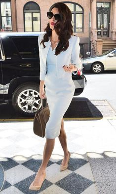 Amal Clooney wearing Zac Posen Sheath Dress, Zac Posen Cropped Jacket, Givenchy 0839 Sunglasses, Jimmy Choo Imogen Pumps and Michael Kors Bancroft Tote Lawyer Fashion, Office Fashion, Work Fashion, Star Fashion, Classy Outfits, Chic Outfits, Fashion Outfits, Business Dresses, Business Outfits