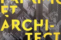 Affiche pour les Entretiens du Patrimoine et de l'Architecture 2011. DES SIGNES, 2011. Fond argent avec surimpression de noir et sérigraphie jaune fluo du lettrage.