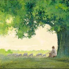 painting of jesus christ leaning against a tree watching a flock of sheep Pictures Of Jesus Christ, Jesus Christ Images, Jesus Art, Paintings Of Christ, Jesus Painting, Psalm 31, Christian Artwork, Christian Artist, Jesus Christus