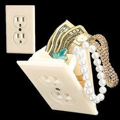 Hidden Wall Safe US Dont know what is really put in there but hey.maybe emergency chocolate that the husband cant steal? Fake Walls, Secret Hiding Places, Bedside Shelf, Wall Safe, Electrical Outlets, Wall Outlets, Cool Inventions, Environmental Design, Cool Gadgets