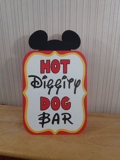 Mickey Mouse Birthday Party Sign, Hot Diggity Dog Bar Party Decoration, Mickey Mouse Clubhouse Party SHIPS FAST by FeistyFarmersWife