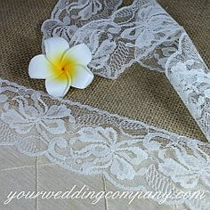 Accent rustic and vintage-themed weddings with beautiful lace. Use it on candles, burlap table runners, cakes, favors, vases, jars, invitations, bags, gifts and bouquet handles.