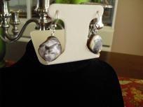 Faux Abalone Shell Hook Earrings.