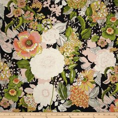 Alexander Henry Blak & White Greenwich Black from @fabricdotcom  Designed by the De Leon Design Group for Alexander Henry, this fabric is perfect for quilting, apparel and home decor accents. Colors include shades of peach, pink, grey, black, white, and green.