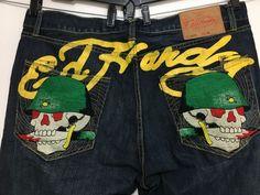 c829d3e8fc2 Ed Hardy Mens 42 x 35 Brando Blue Jeans Embroider GI Skulls Helmets 5  Button NEW