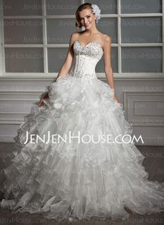 Wedding Dresses - $211.99 - A-Line/Princess Sweetheart Floor-Length Organza Satin Wedding Dresses With Beadwork (002013819) http://jenjenhouse.com/A-line-Princess-Sweetheart-Floor-length-Organza-Satin-Wedding-Dresses-With-Beadwork-002013819-g13819