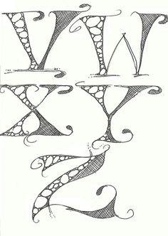 Lettering V-Z - Natürliche Gelnägel Graffiti Lettering Fonts, Hand Lettering Alphabet, Doodle Lettering, Creative Lettering, Lettering Styles, Lettering Design, Images Alphabet, Doodle Alphabet, Alphabet Art