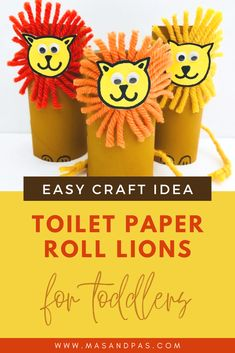 Looking for a fun craft idea or activity for your toddler? These cute and easy to make lions are adorable and your toddler will love making and playing with these! Time: 10 minutes Age: Little kids Difficulty: Easy peasy Zoo Crafts, Easy Crafts For Kids, Animal Crafts, Toddler Crafts, Art For Kids, Toilet Paper Roll Crafts, Paper Crafts, Toddler Activities, Preschool Activities