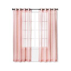 Linen Grommet Sheer Curtain Panel Blush 16 Liked On Polyvore Featuring Home