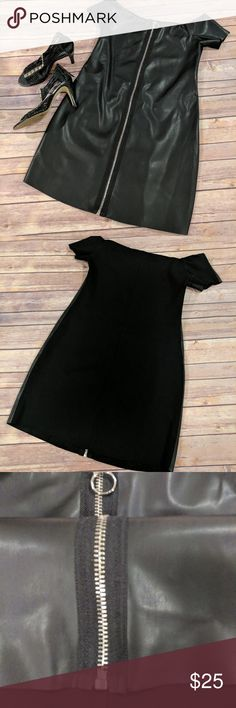 NWOT Zara faux leather zippered dress Never worn, the tags are missing only you can see the thread.NWOT. Black faux leather looks dress from Zara. Back is spandex, polyester. Perfect for night out at the live gig. Size small. Zara Dresses Midi