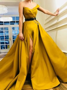 Yellow Long Side Split A-line Elegant Prom Dresses, Modest Party Dress, Evening Dresses Yellow Long Side Split A-line Elegant Prom Dresses, Modest Party Dress, Evening Dresses - Ball gown dresses - Elegant Prom Dresses, Pretty Dresses, Formal Dresses, Long Dresses, Elegant Gowns, Dress Long, Summer Dresses, Sexy Evening Dress, Evening Dresses