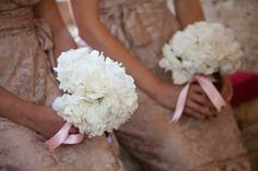 Old Fashioned & Glamorous Wedding - white hydrangeas for bridesmaids